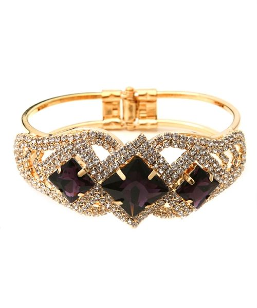 Gold and amethyst open cuff bracelet only £14.99 from WWW.GlitzyGlamour.co.uk (available in other colours)