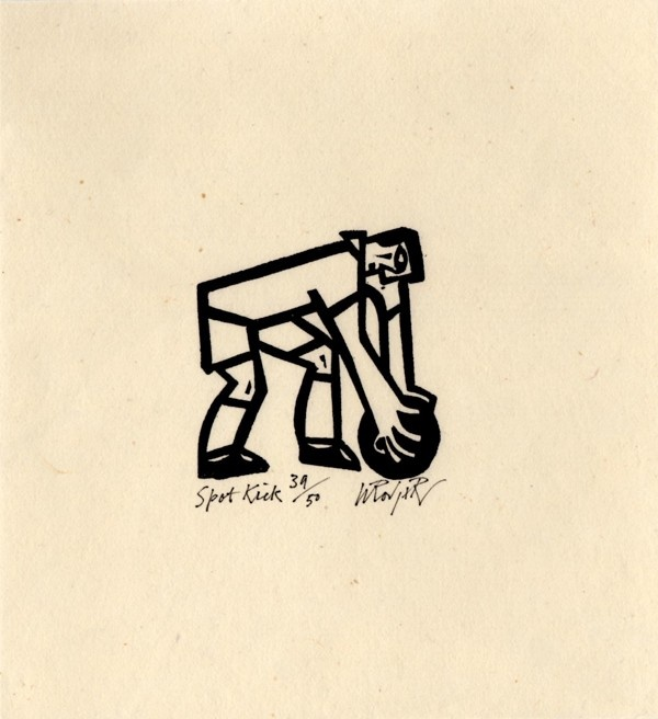 Spot Kick  Willie Rodger  Lino cut print  Numbered 39 of an edition of 50