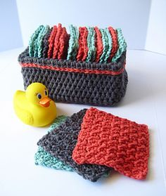 Little Washies - free crochet basket and washcloths pattern by Brenda K. B…