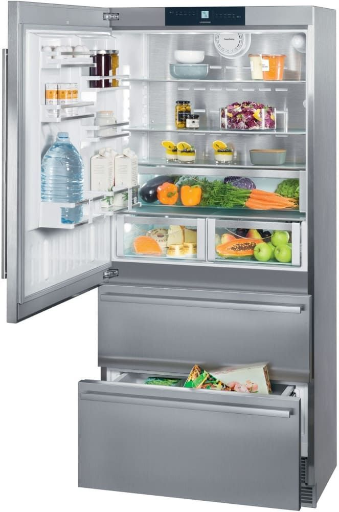 Liebherr Cs2081 36 Inch Counter Depth Bottom Freezer Refrigerator With Automatic Ice Maker Duocooling Stainless Steel Back Wall Glassline Shelves Supercool Refrigerator Bottom Freezer Bottom Freezer Refrigerator