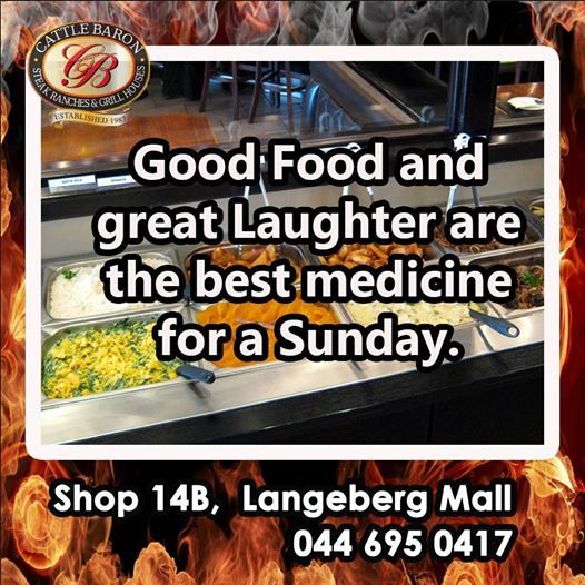 Good food and great laughter are the best medicine for this Sunday. Join the Cattle Baron Mossel Bay for a fabulous Buffet lunch and enjoy it with your family. #steakhouse #buffetlunch #sundaylunch