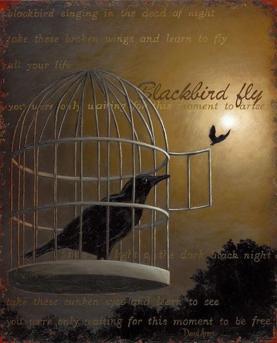 I love David Arms art work inspired by the lyrics of Blackbird ~ The Beatles.