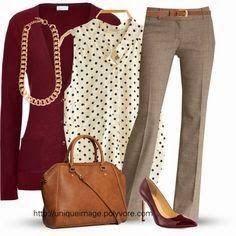 60 work outfit ideas!  wine, burgundy, white black polka dots, neutral tan, gold