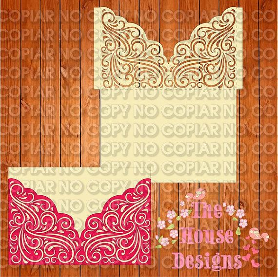 Invitation of the wedding card template figures, romantic, lace (ai, eps, svg) lasercut download immediately, vector