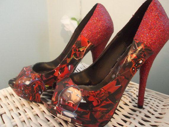 Iron Man Decoupage and Glitter High Heel Platform by KapowCouture