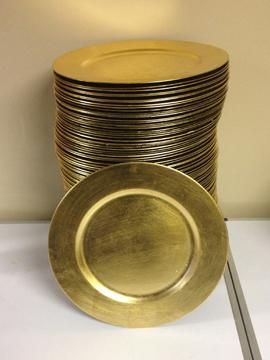 Gold and Silver Charger Plates for sale $1 each for sale at Bridal Garage Sales