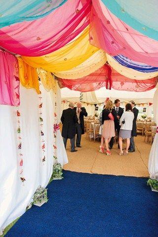 Garden Party Wedding; Real Wedding Inspiration (BridesMagazine.co.uk) colorful - drape over awning?