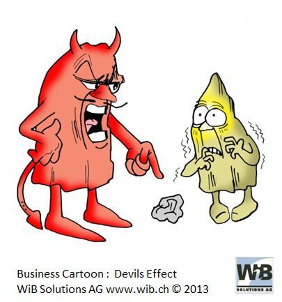 Business Cartoon Devils Effect by WiBi and WiB Solutions Switzerland. Check for more on management thinking mistakes at www.managementthinkingmistakes.ch