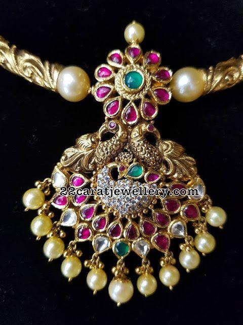 Antique Peacock Ruby Pendant - Jewellery Designs
