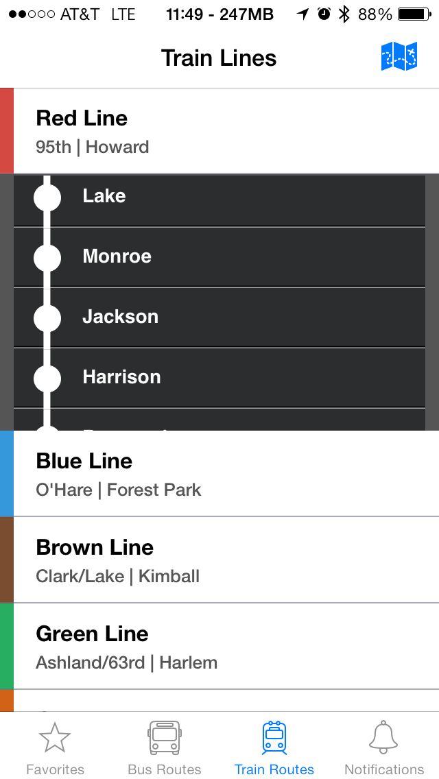 Transit Buddy App -Train Lines  iOS 7 Design.   Download it here! https://itunes.apple.com/us/app/transit-buddy-cta-bus-train/id592632455?mt=8