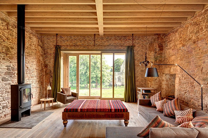 Astley Castle Renovation, Warwickshire, 2012 - Witherford Watson Mann.  Living Room.