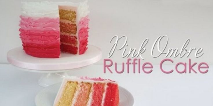 Pink Ombre Ruffle Cake Tutorial This fun ombre ruffle cake is sure to impress once it's cut open and reveals it's ombre on the...