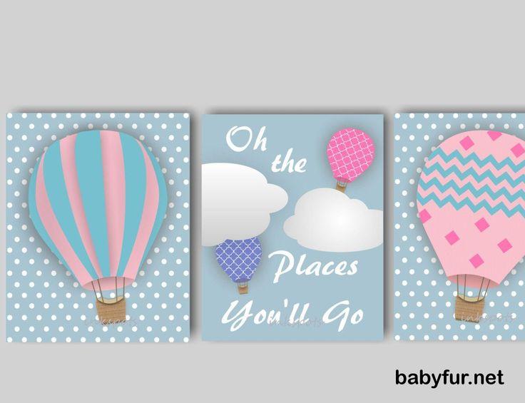 Baby Girl Nursery Art Hot Air Balloon Nursery Bedding Decor Balloon Nursery Art The Places You'll Go Print Collection CHOOSE Colors TRAB02 - http://babyfur.net/baby-girl-nursery-art-hot-air-balloon-nursery-bedding-decor-balloon-nursery-art-the-places-youll-go-print-collection-choose-colors-trab02.html