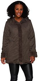 Dennis Basso Reversible Water Resistant to Faux Fur Hooded Parka