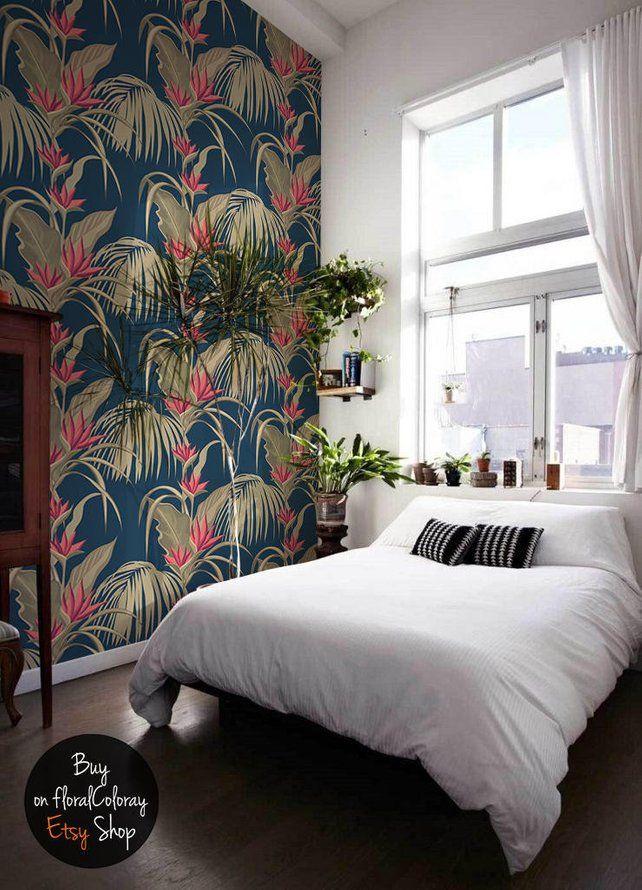 sumatra paradise wallpaper exotic floral wall mural etsy bedroom rh pinterest com