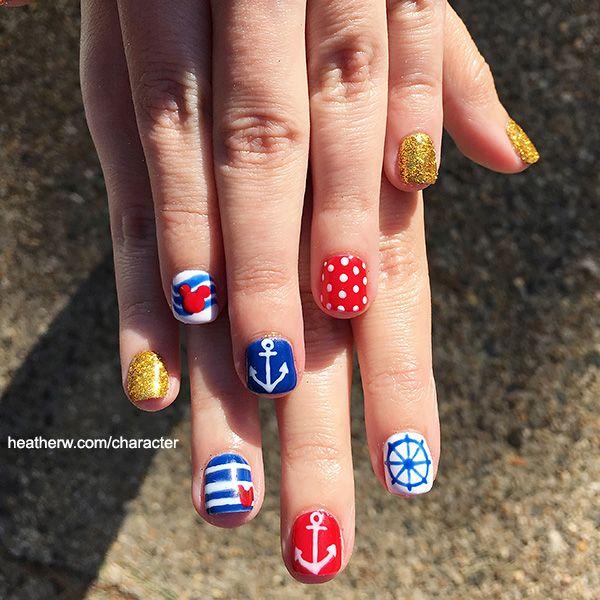 Disney Cruise Line Nail Art. Disney Cruise Line Logo, anchor, wheel, polka dots, and gold glitter nails
