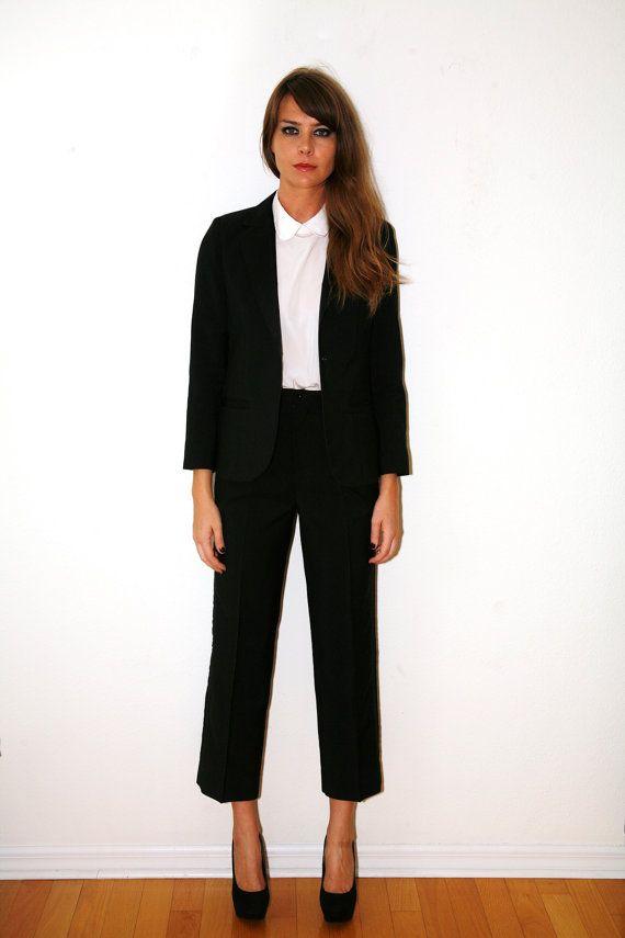 tuxedo suits women | Vintage 70s Women's Tuxedo Suit Black Small - Medium
