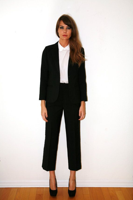 tuxedo suits women | Vintage 70s Women's Tuxedo Suit Black Small - Medium