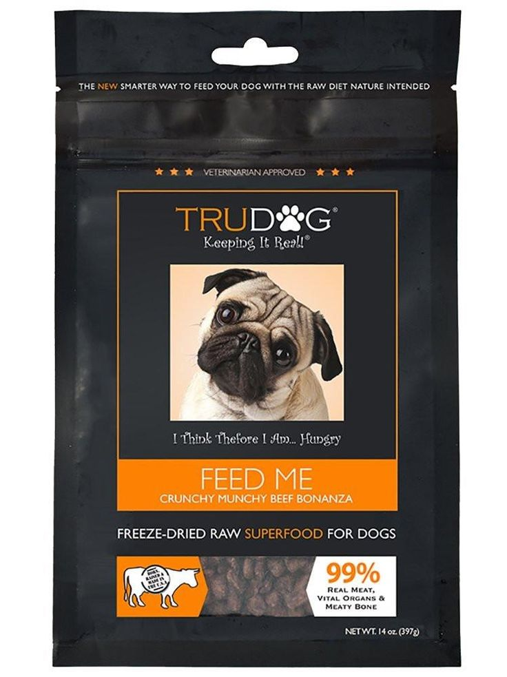 Real Meat Organic Dog Food - Feed Me: Freeze Dried Raw Superfood for Optimal Canine Health and Natural Longevity - All Natural - Balanced Nutrition - No Filters No Grain - Just Add Water Beef Bonanza 14oz