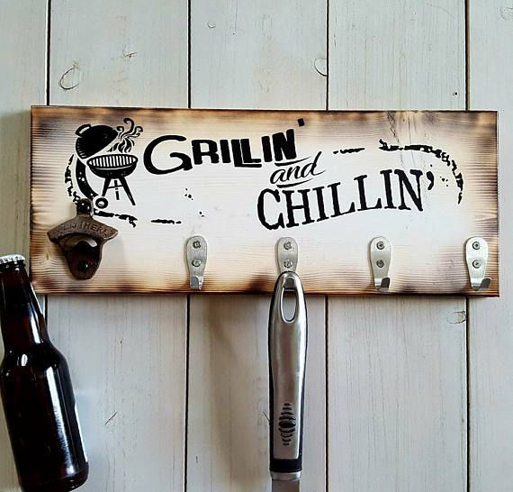 Grillin 39 and chillin 39 wood sign gift for men christmas - Grill utensil storage ideas ...