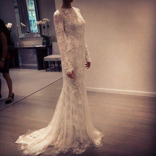 High Neck Wedding Dress || take off the sleeves (or even keep them on) and it's the most perfect gown i've ever seen