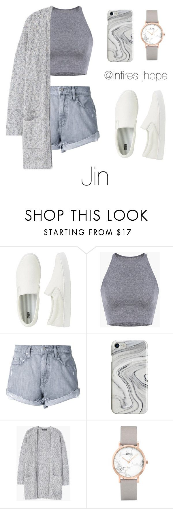 """""""Grey Outfit with Jin"""" by infires-jhope ❤ liked on Polyvore featuring Uniqlo, Nobody Denim, Recover, MANGO and CLUSE"""