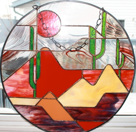 Desert Stained Glass Round Panel