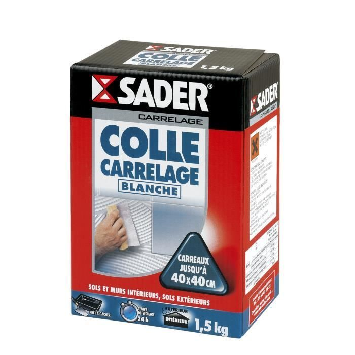 Sader Boite Colle Carrelage Blanche Poudre 1 5kg Carrelage Poignee Fenetre Et Hydrofuge Toiture