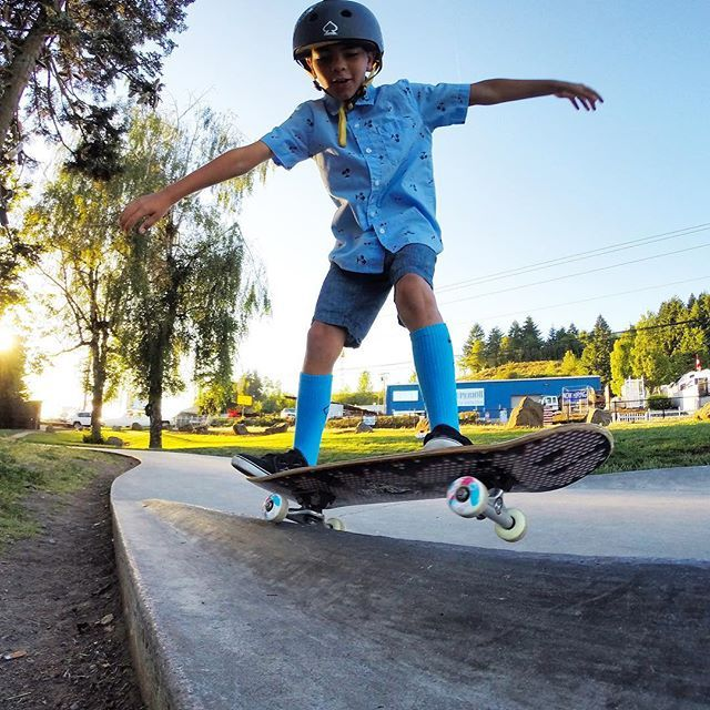 #GoPro Featured Photographer - @filmbot  About the Shot: Dad and Son Skate Day - My son and I #skateboard together as much as we can. One of our favorite spots in SE Portland is Ed Benedict Skate Plaza. Gavin had be learning 5-0 grinds and he wanted to get a shot of his first make. I set up my #HERO4Black with a 3-Way mount using the mini tripod to get a low angle to get the ledge and coverage I needed.  #GoPro