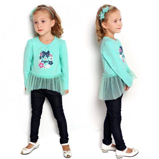 Arshiner Sweet Kids Girl's Wear O-neck Long Sleeve Print Mesh Patchwork T-shirt $15.60 Free Shipping!