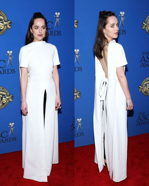 'Fifty Shades' actress Dakota Johnson was as backless as could be in Rosetta Getty at theAmerican Society of Cinematographers Awards in Hollywood.