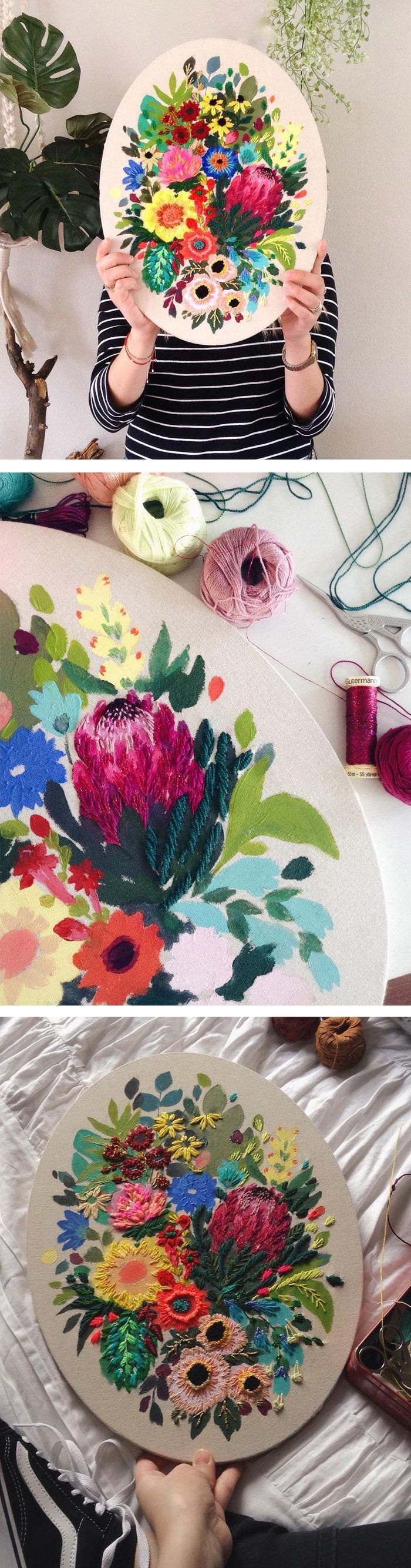 Lush floral art by Jo Jiménez // floral embroidery // mixed media art