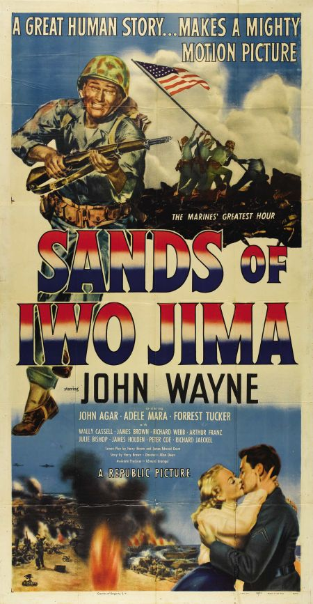 "Sands of Iwo Jima (Republic, 1950). Three Sheet (41"" X 81""). John Wayne stars as Sergeant John Stryker in this patriotic war picture about the Marine Corps"