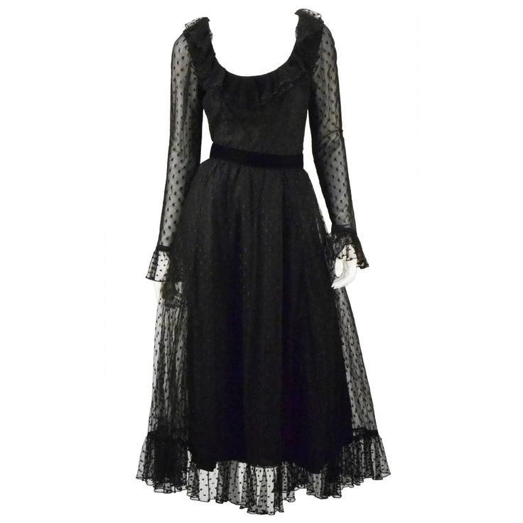 1970s Victor Costa LTD Black Lace Polka Dot Evening Dress