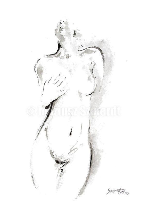 Nackte Frau Kunst Malerei. Weibliche Malerei minimalistischen abstrakten Poster. Nackte Mädchen weibliche Nacktheit Wall Decor erotischen Stil. Art von Papier: Drucke bis zu (42 x 29, 7cm), 11 X 16 Zoll Größe auf Archivierung Säure frei 270g/m2 weiß Aquarell Fine Artpapier gedruckt und – Jana Ba