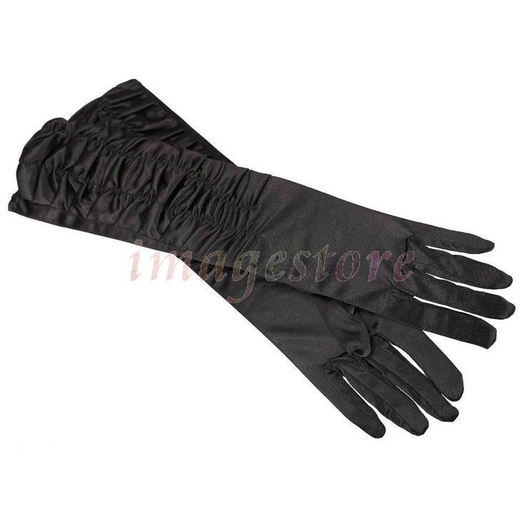 Пара черный стрейч атласа имеет оборками платье мода новые перчатки в 2016