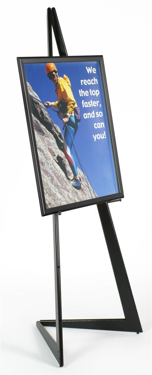 22 x 28 Poster Frame with Bifold Floor Easel, Height Adjustable Display Pegs - Black
