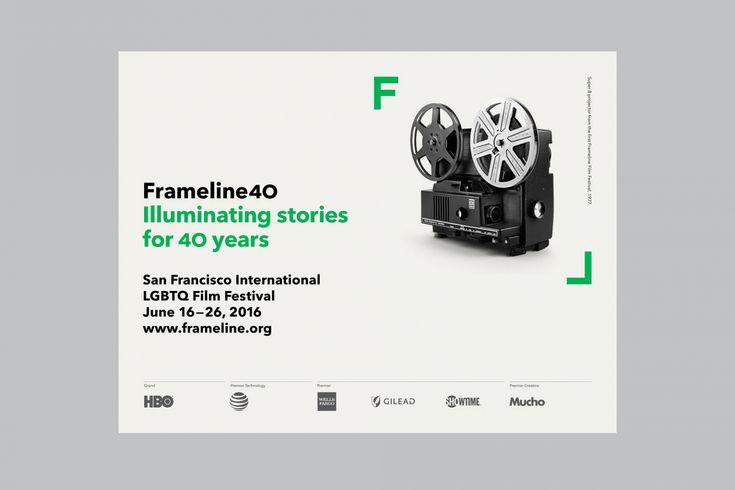 Brand identity and poster designed by Mucho for San Francisco based LGBT film festival and non-profit arts organisation Frameline.