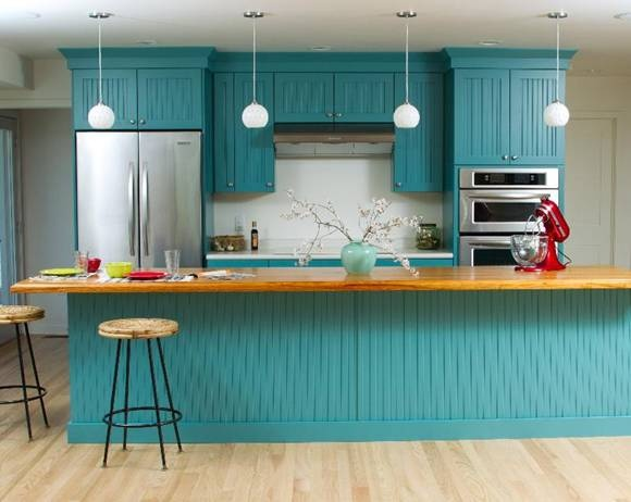 Really want to paint my kitchen cabinets teal distressed for Teal kitchen cabinets