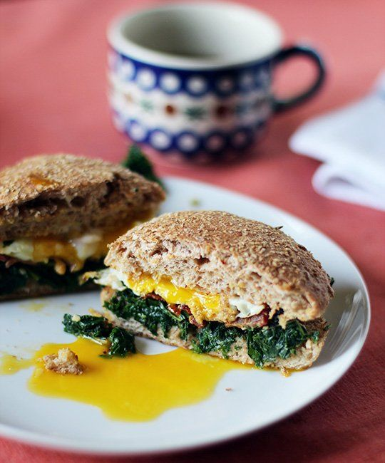 Sunday breakfast inspiration: kale, bacon and egg sandwiches.