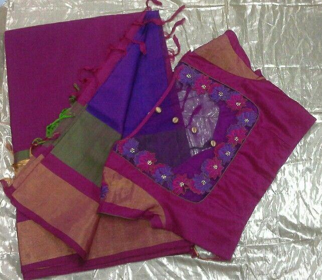 Uppada saree with back high neck with aplic work on net 7702919644