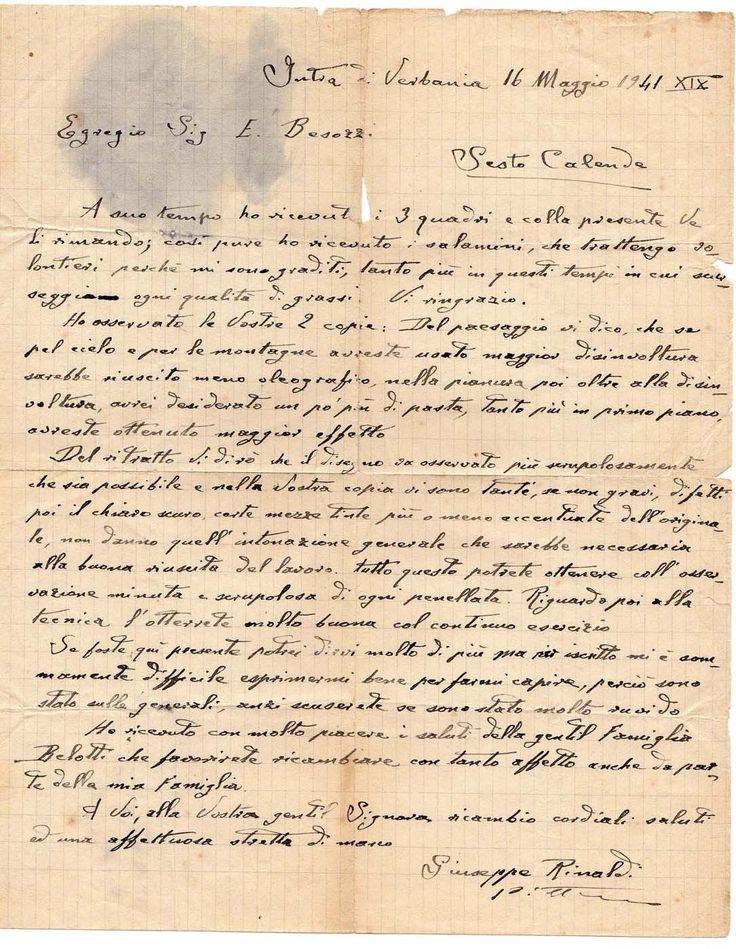 a14 1941 Lettera di Giuseppe Rinaldi Pittore Accademia di Brera