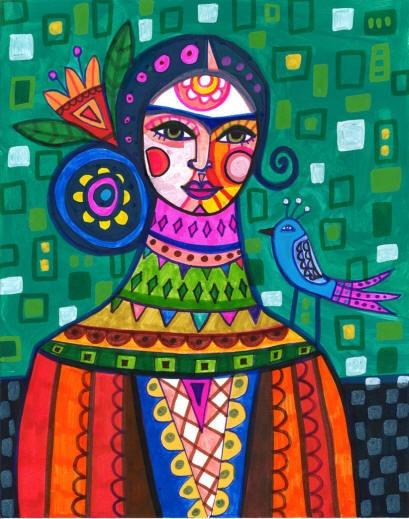 MEXICAN FOLK ART Frida Kahlo Art Print  by HeatherGallerArt, $24.00