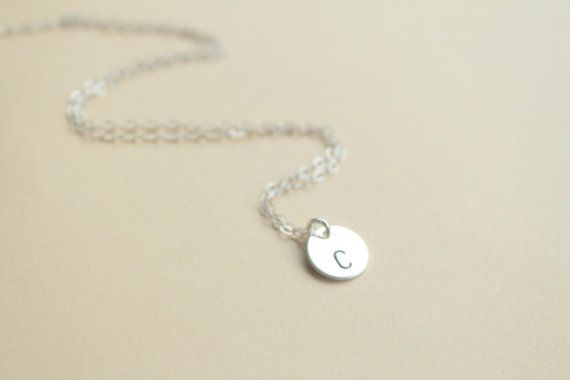 Little initial - Personalized silver disc necklace- sterling silver - initial necklace- mother - sister