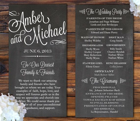 Chalkboard Looking Wedding Program from rusticweddingchic.com