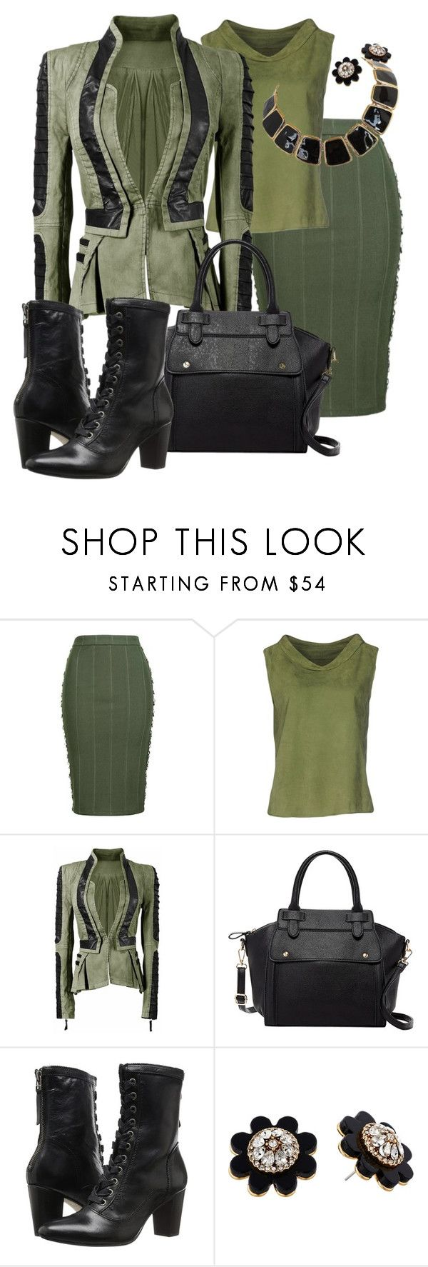 """Moss Green & Black"" by geewhizart ❤ liked on Polyvore featuring Topshop, DESA, Pink Haley, Johnston & Murphy and Kate Spade"