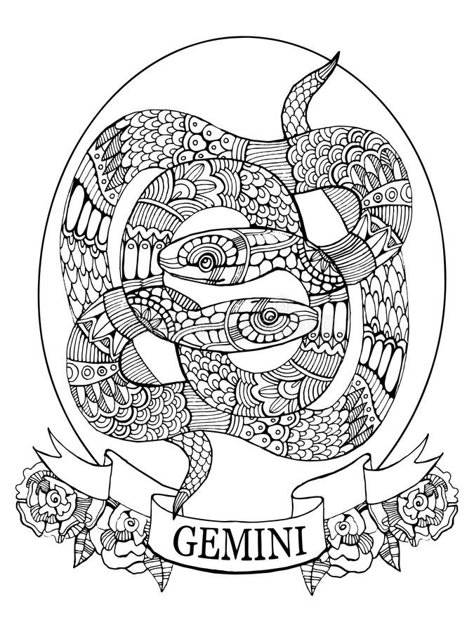 Download Gemini Zodiac Sign Coloring Book For Adults