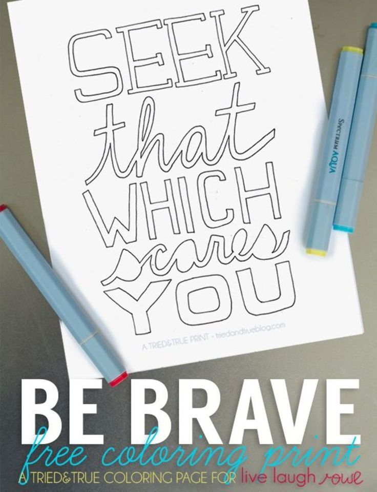 Be Brave Free Adult Coloring Book Page