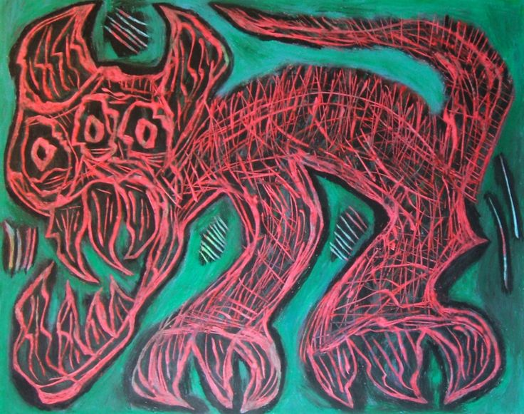 """Belva rossa"" 2014 Tecnica mista su cartoncino 38x48 ©Pietro Gargano"