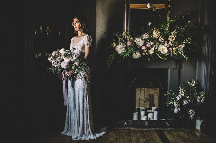 Jenny Packham Wedding Dress | Dark Hues For An Intimate Wedding Inspiration Shoot At The Green Man Winchester With Stationery By Geri Loves Emi And Images From Carrie Lavers Photography